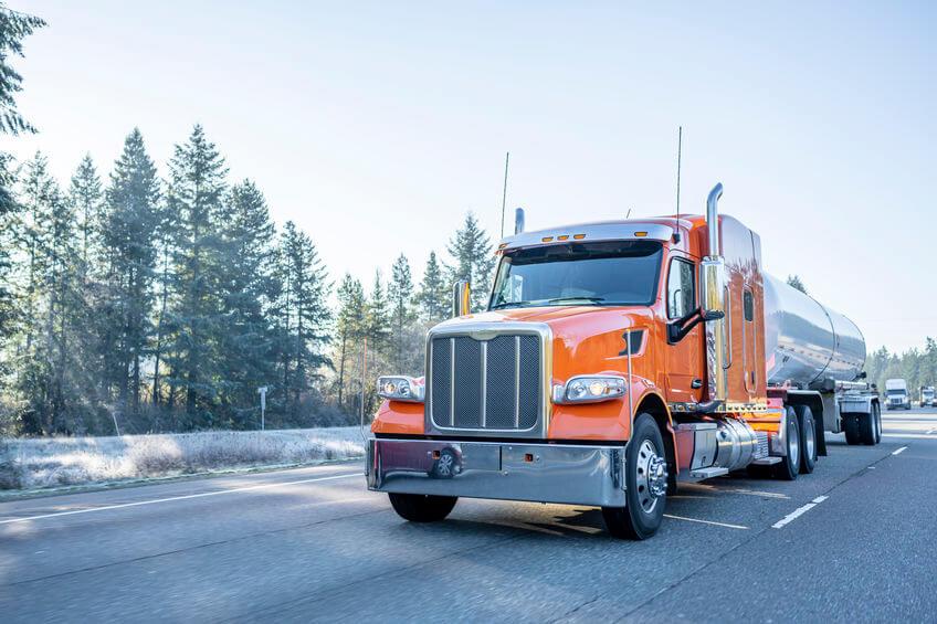 Tanker truck shipping liquid bulk emulsifier chemicals.
